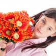 Young Girl Holding a Bunch of Flowers. — Stock Photo