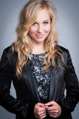 Pretty Blond Woman in Black Jacket — Stock fotografie