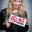Woman With No Smoking Sign. — Stock Photo