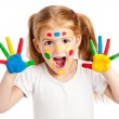 Three Year Old Gilr With Brightly Painted Hands — Stock Photo