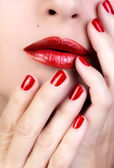 Sensual Woman Red Lips. Red Nail Polish — Stock Photo