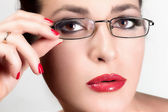 Beauty Young Woman with Glasses. Beauty Brunette. Brown Eyes — Foto de Stock