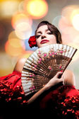Fashion Art Portrait Of Beautiful Girl. Andalusian Style Woman — Stock Photo
