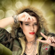 Stock Photo: Beauty Hip Hop Girl With Camouflage Hoodie