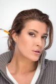 Brunette Beauty Thinking. Seeking Solutions — Stock Photo