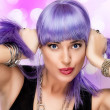 Stock Photo: Beauty Joyful Girl. Stylish Purple Hair