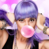 Lovely Stylish Party Girl. Purple Wig and Bubble Gum — Stock Photo