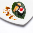 Sushi Nigiri and Hosomaki. Japanese Traditional Food — Stock Photo