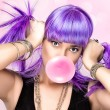 Beauty Party Girl. Purple Wig and Pink Bubble Gum — Stock Photo