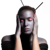 Beautiful Zen Woman. Creative High Fashion Makeup. — Stock Photo