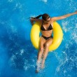 Постер, плакат: Aquapark Beautiful Brunette at Waterpark