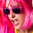 Fashionable Pink Party Girl. Sensual mouth — Stock Photo