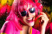 Stylish Party Girl Expressing Happiness. Water Splash — Stock Photo