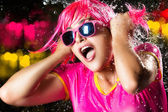 Beauty Party Girl. Water Splash — Stock Photo