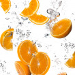 Stock Photo: Healthy Water with Fresh Oranges. Drops