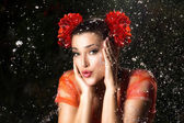 Beauty Brunette Girl. Water Splash — Stock Photo