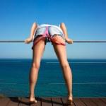 Denim Shorts. Backside of Beautiful Sexy Girl — Stock Photo