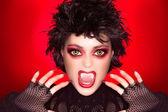 Прекрасная Готическая девушка. вампир макияж. карикатура — Стоковое фото