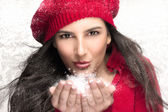 Beauty Christmas Girl Blowing Snow — Stock Photo