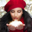 Christmas Girl Blowing Snow — Stock Photo