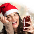 Happy Smiling Girl with Christmas Gift — Stock Photo