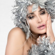 Beautiful Christmas Girl with Silver Hair. Winter Woman Makeup and hairstyle — Стоковое фото