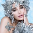 Beautiful Christmas Girl with Silver Stylist. Winter Queen — Stockfoto #36521791