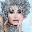 Beautiful Christmas Girl with Silver Stylist. Winter Queen — Stock Photo #36603719