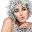 Christmas girl sending a kiss. Fashionable woman portrait with Silver Stylism. Vogue style mode — Stockfoto #36604191