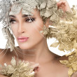 Fashionable woman portrait with Gold and Silver Stylism. Vogue style model — Stockfoto