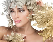 Fashionable woman portrait with Gold and Silver Stylism. Vogue style model — Stock Photo