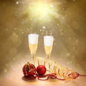 Champagne Glasses. New Year and Christmas Celebration — Stock Photo