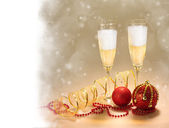 Champagne Glasses. New Year and Christmas Celebrations — Stock Photo