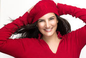 Happiness. Joyful Winter Girl in Red with a Healthy Mouth Smilin — Stock Photo