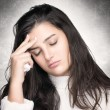 Sick Young Woman with Headache. Flu or Allergy — Stock Photo #38665413
