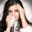 Sick Young Woman with Flu or Allergy — Stock Photo #38665451