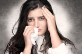 Sick Young Woman with Flu or Allergy — Stock Photo