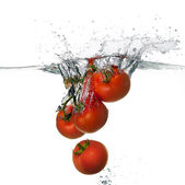 Fresh Red Tomatoes Splash in Water Isolated on White Background — Stock fotografie
