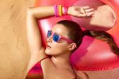 Fashion Girl Portrait. Beautiful Young Woman Sunbathing — Stock Photo