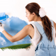 Stock Photo: Ecologist Mural Painting on Wall. Decor with Acrylic Paint