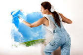 Ecologist Mural Painting on Wall — Stock Photo