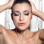Young Sensuality Woman Showering. Spa Treatment. Wet Make-up — Stock Photo