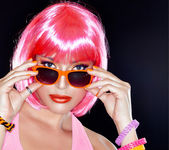 Beautiful Party Girl. Stylish Pink Hair. — Stock Photo