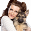 Cute Young Woman with a Puppy Dog — Stock Photo
