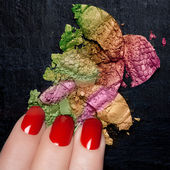 Red Nail Polish and Mineral Colorful Eye Shadow — Stock Photo