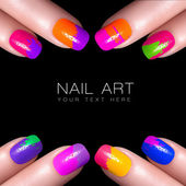 Colorful Fluor Nail Polish. Art Nail — Stock Photo