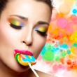 Sweet Pleasure. Colorful Makeup — Stok fotoğraf #48040131