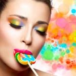 Sweet Pleasure. Colorful Makeup — Foto de Stock