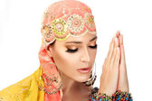 Namaste. Ethnic Woman — Stock Photo