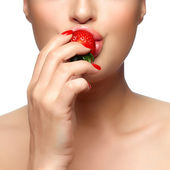 Sweet Bite. Healthy Mouth Biting Strawberry — Stock Photo